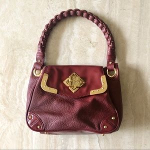 BCBG Maxazria Burgundy Leather Shoulder Bag